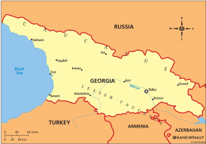Georgia is southwest of Russia and on the northeastern border of Turkey.